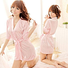 Ladies Sexy Nightdress Lingerie Lace Bathrobes Cardigan Nightgown With G-String- Pink