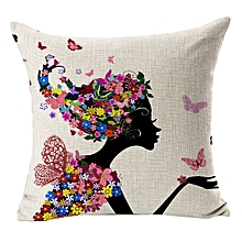 Cushion Covers Car Floral Printed Cotton Linen Sofa Vintage Pillowcase BK