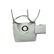 2 In 1 Ladies Leather Handbag - Off White
