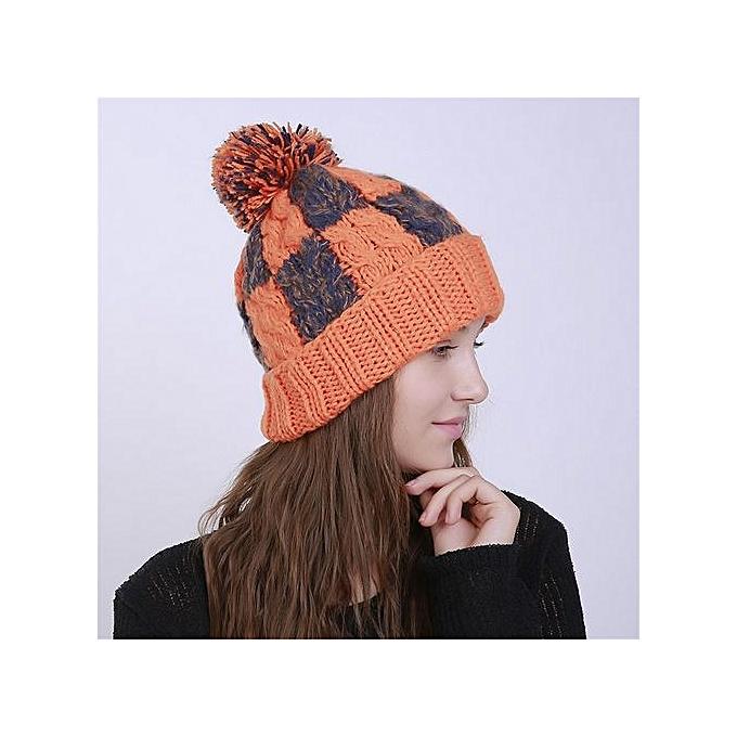 acf4cda2444 Wenrenmok Store Men s Women s Knit Lattice Beanie Color Block Winter Hat  Ski Crochet Pom Pom Cap