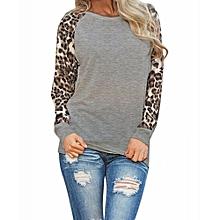 Female New Fashion Women's Long Sleeve Leopard Chiffon Cotton Casual Long Tops Shirt Blouse-Grey