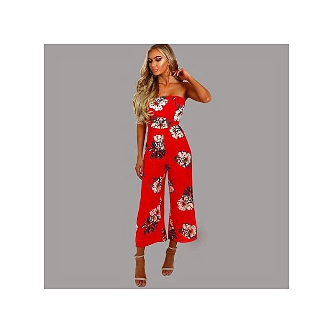 e568d04c0d ... bluerdream-Women Off Shoulder Floral Party Playsuit Ladies Long Jumpsuit  Romper Trousers L-Red ...