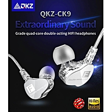 QKZ CK9 Latest Version of The Double Dynamic Earphone Bass Phone Headset HiFi Call Headset Ring Iron Headphones (white)