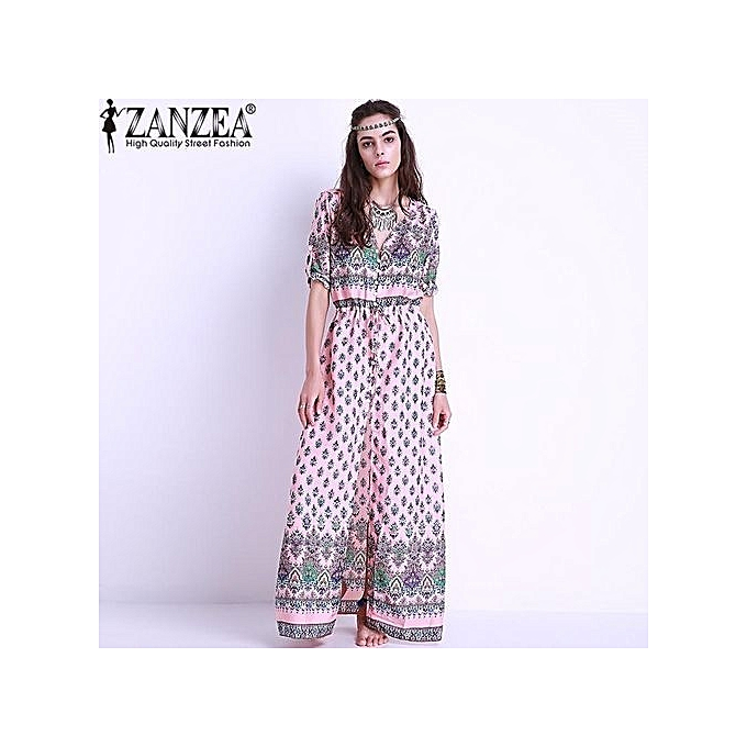 eb5437bb72722 ZANZEA Women Floral Print Maxi Long Dress Boho Elegant Half Short Sleeve  Button Front V Neck Split Party Evening Shirt Dress Sundress (Pink)