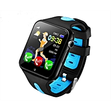 V5K Children Anti-lost GPS Tracker Locator Smart Watch SOS GSM Phone Kid Baby Touch Screen Smartwatch Support SIM For Android IOS(Black+Blue)