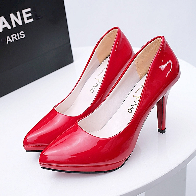 d0837e26a05 ... 10cm Pointed Toe Formal Thin Heels Pumps Women Shallow Sex High Heels  Patent Leather Wedding Shoes ...