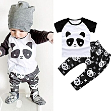 Refined Fashion Children's Clothing  Bursting Panda Stamp T-shirt + Pure Cotton Short Sleeved Two Pieces Of Suit