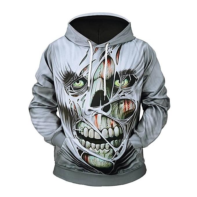 5073dd3a8ed4 Passion Pie Halloween Men s Creative Horror Skull 3D Print Hoodie ...