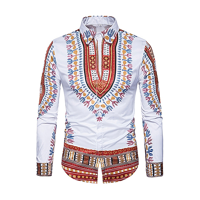 535e3f1ced3 National Style Pattern Printing Button up Long Sleeve Chic Designer Shirts  for Men