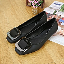 2018 New Metal Buckle Sandals Flat Soft Bottom Women's Shoes Casual Non-slip Sandals And Slippers-Black
