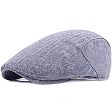 Mens Vintage Cotton Stripe Beret Hat Adjustable Paper Boy Cabbie Golf Gentleman Caps