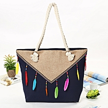 Canvas Rope Fashion Canvas Bag Female Shoulder Bag Female Striped Beach Bag