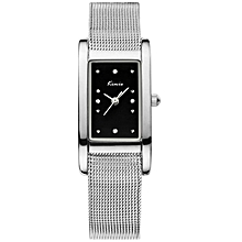 Silver Rectangle Face Mesh Watch + Free Gift Box - Silver