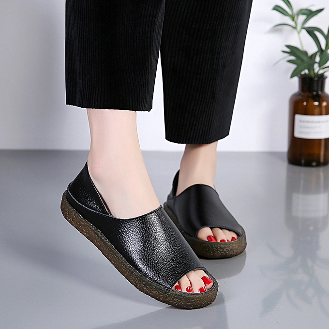608622c1a Women Sandals Leather Loafers Summer Flat Walking Shoes Casual Shoes Plus  EUR Size 35-44