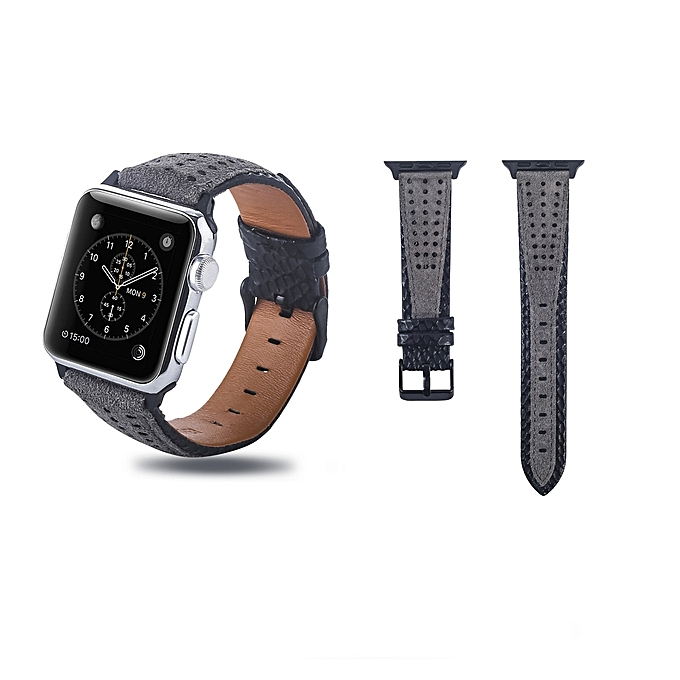 df9254a31751 Round Hole Top-grain Leather Wrist Watch Band for Apple Watch Series 4   3