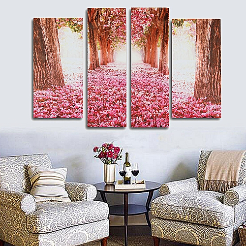 Generic Cherry Blossom Abstract Canvas Art Oil Painting Home Wall Decor Set Unframed
