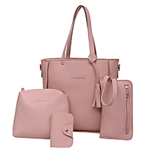 singedanFour Set Handbag Shoulder Bags Four Pieces Tote Bag Crossbody Wallet Bags PK -Pink