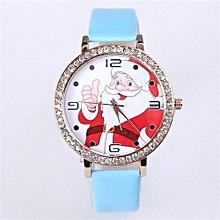 New Year Christmas Watches Women Santa Claus Pattern Womens Quartz(Blue)