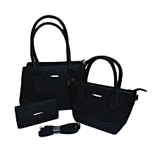 3 in 1 High Quality PU Leather Handbags- BLACK