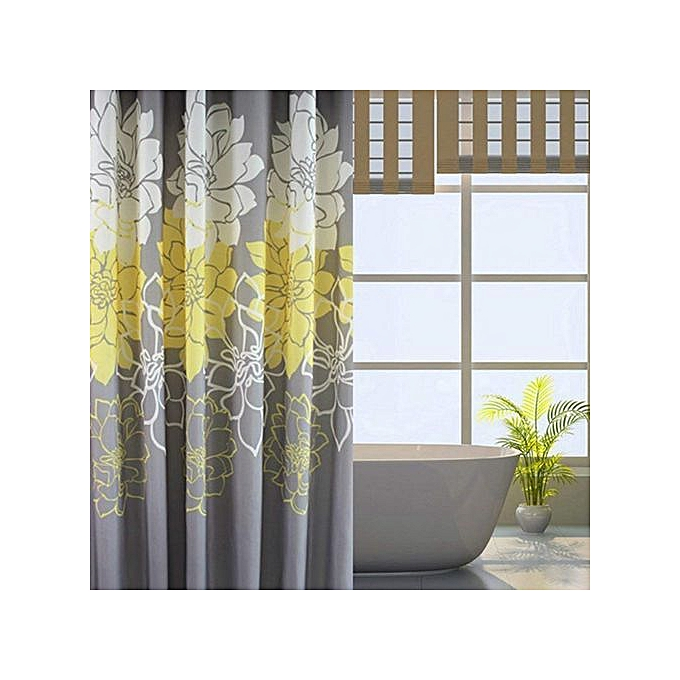 Peony Flower Fabric Shower Curtain Mildew Resistant Waterproof Standard Bath For Bathroom Yellow And
