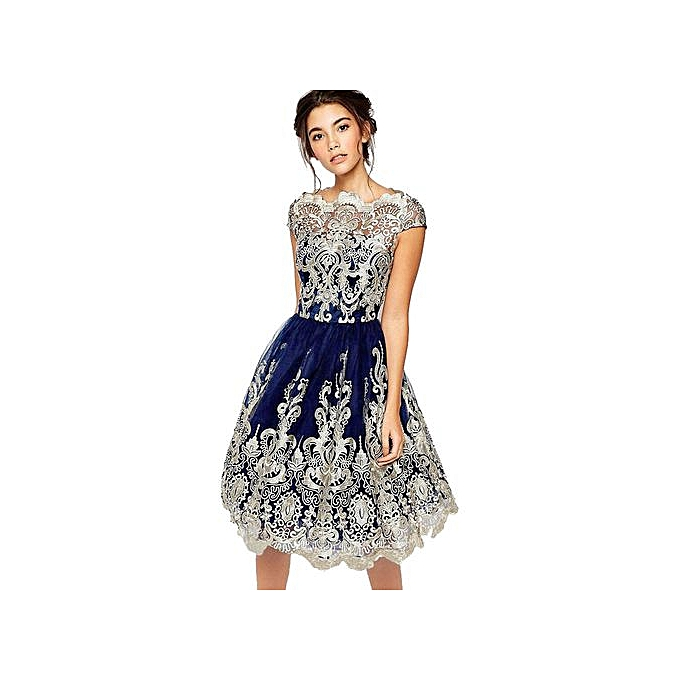 d18f0210454d6 Hiaojbk Store Women Lace Embroidery Prom Formal Evening Party Bridesmaid Ball  Gowns Dress-Blue