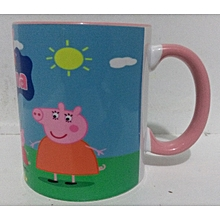 White Coffee Mug - pink handle and rim - with peppa pig Cartoon