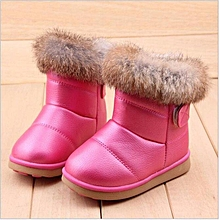 Child Girls Kids Winter Warm Booties Leather Rabbit Fur Shoes Snow Ankle Boots-EU