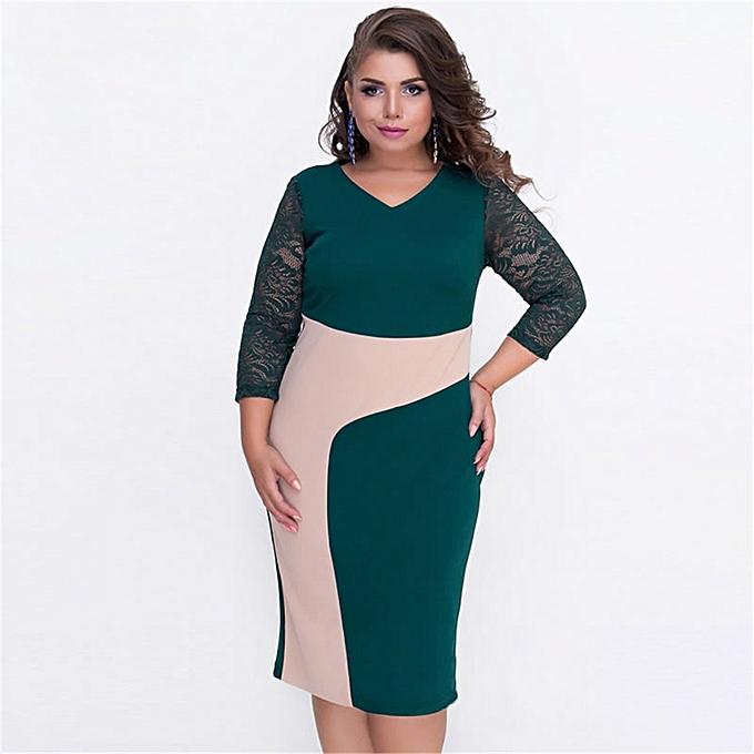 Women Dress Large Big Size Patchwork Lace Red Dress Bodycon Big Sizes  Female Clothing Dresses 49415ad2c7c2