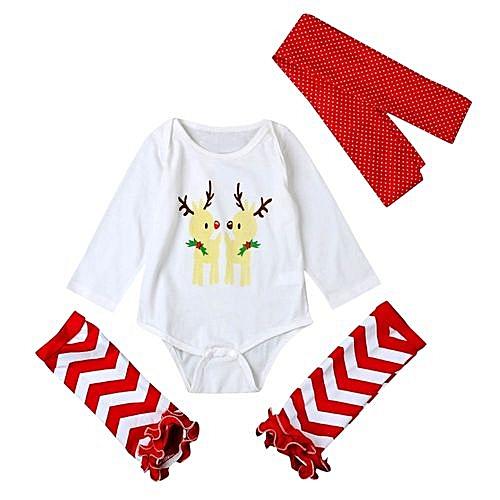 914099d8b Eissely 3Pcs Newborn Baby Set Clothes Xmas Elk Romper Bodysuit Leg Warmer  Outfits Gift