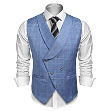 Men Shawl Collar Plaid Patchwork Double-breasted Slim Fit Business Suit Vest