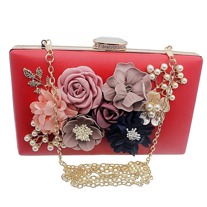 69424e63dc15 ... Women Red Clutch Bag Cluster Multicolour Flowers Party Bridal Handbag  Wedding Evening Purse - Multicolour HBS0006 ...
