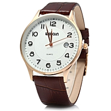 W23053B Men Ultrathin Date Leather Analog Quartz Watch-COFFEE GOLDEN SILVER