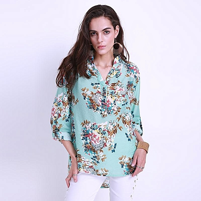 ad4786e9d0af54 ... Tops Plus Size 5XL New · 2017 Autumn Women Shirt Floral Fashion V Neck  Short Long Sleeve Blouse Office Ladies Casual Loose