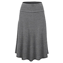 Xiuxingzi_Women Plus Size Solid Flare Hem High Waist Midi Skirt Sexy Uniform Pleated Skirt