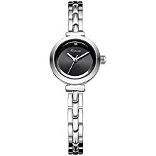 Black Dial Silver Strap Wrist Watch + Free Gift Box - Silver