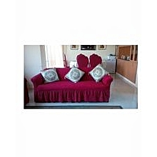 Sofa Seat Covers - 3+2+1+1- Red & Maroon