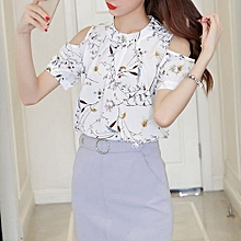 Womens Elegant Open Shoulder Blouses Chiffon Print Floral Shirt WH XXL