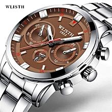 WLISTH Man Watches Men Stainless Steel Wrist Watch Genuine Brand Quartz Clock Waterproof Wristwatch Simulate Three Eyes Relogios 508