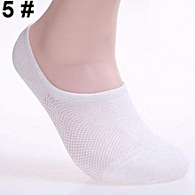 6 Pairs Men Fashion Summer Bamboo Ankle Invisible Loafer Boat Liner Low Cut Socks-White