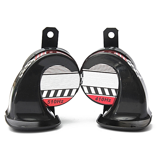 Pair 12V Motorcycle Boat Bike High & Low Replacement Loud Air Horns 130db Black