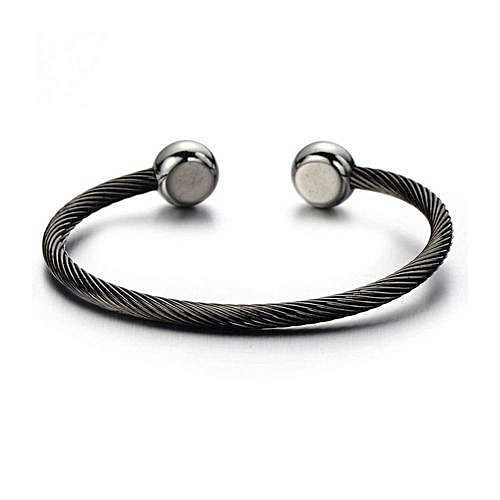 287070338ee Generic Magnetic Therapy Mens Stainless Steel Twisted Cable Bangle  BraceletSilver Black Two-tone Polished