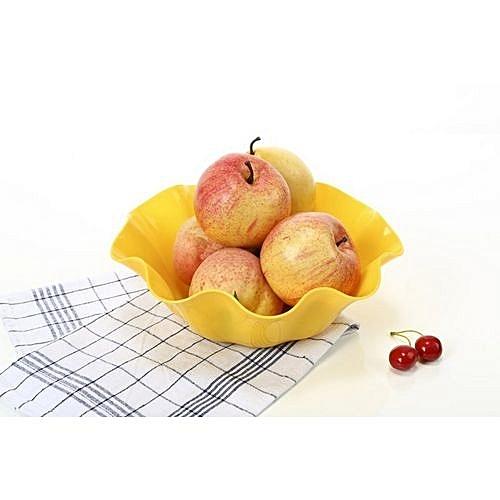 Plastic Fruit Plate Flower Fruit Snacks Plate - Yellow