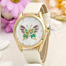 Butterfly Watch Women Ladies Fashion Watch Faux Leather Elegant Analog Quartz Watch(White)