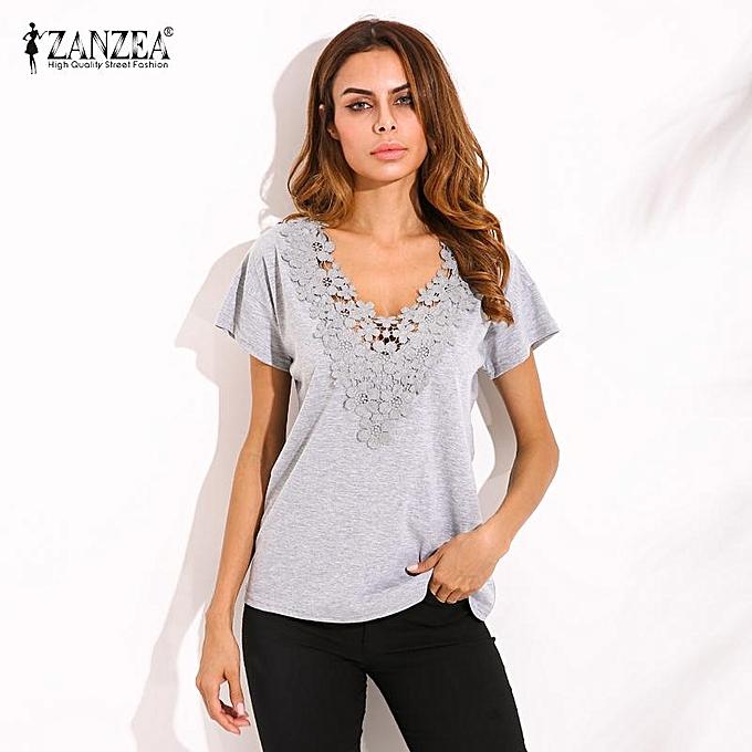 564e920e8d69 ZANZEA Summer Spring Womens Casual Loose Short Sleeve V-neck Black Lace  Flower Collar Shirt