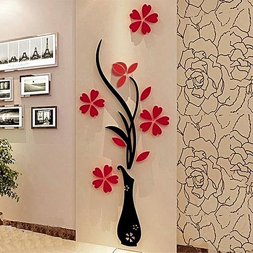 Sunweb 1 Pack 3D DIY Floral Wall Decor Stickers Wall Art Home ...