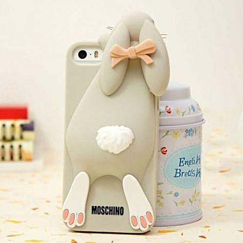 meet 9aba5 f55af Moschino Rabbit Cute 3D Silicone Back Cover Case For Apple Iphone 4/4S-gray