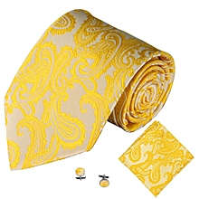 Fohting 3PCS Classic Jacquard Men Party Tie Pocket Square Handkerchief Cuff Link M -Yellow