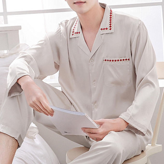 5b3fc55d5b95 Imitation Silk Soft Comfy Casual Home Loungewear Sleepwear Pajamas Suit for  Men