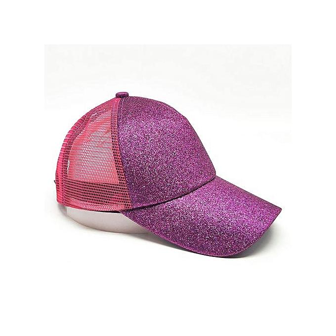 Zetenis 2018 Women Ponytail Baseball Cap Sequins Shiny Messy Bun Snapback  Hat Sun Caps-Rose 03f0c2a8bfb