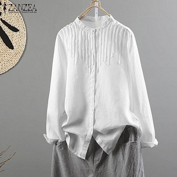 aaa02543327 ZANZEA Women Long Sleeve Plus Size Top Blouse Basic Office Work OL Button  Down Shirt ...